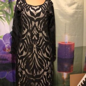"New Black and white lace dress bust 40"" size 12/14"